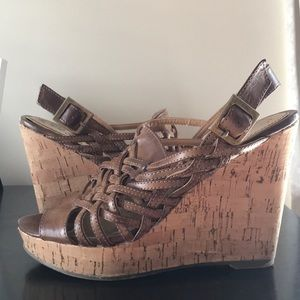 Hot Kiss Brown Cork Platform Heel Sandals Sz 6.5